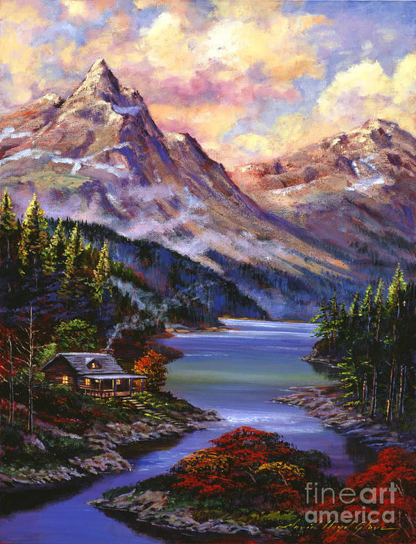 Landscape Poster featuring the painting Home In The Mountains by David Lloyd Glover