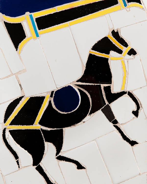 Tile Mosaic Poster featuring the ceramic art Horse-01 by Haris Sheikh