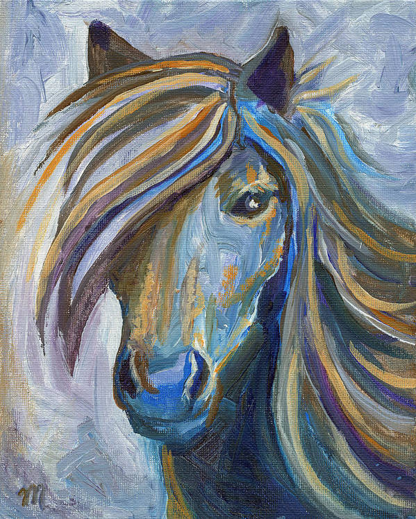 Horses Poster featuring the painting Horse Portrait 102 by Linda Mears
