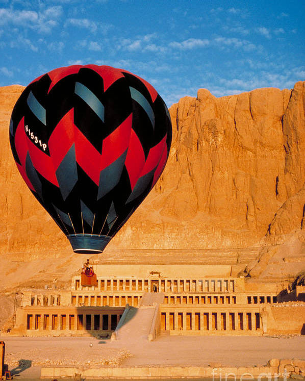 Travel Poster featuring the photograph Hot Air Balloon Over Thebes Temple by John G Ross