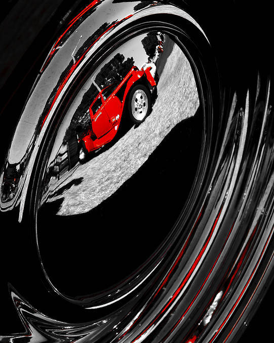 Red Hot Rod Poster featuring the photograph Hot Rod Hubcap by motography aka Phil Clark