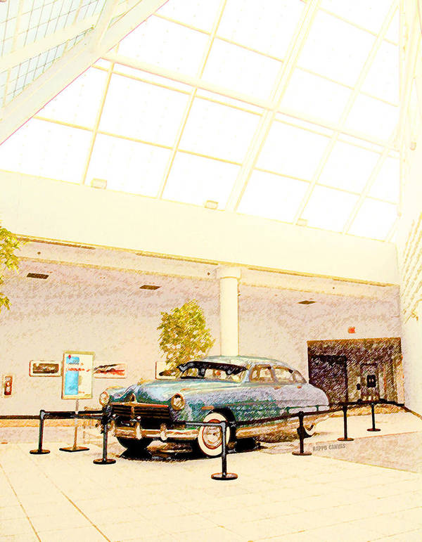 Car Poster featuring the mixed media Hudson Car Under Skylight by Design Turnpike