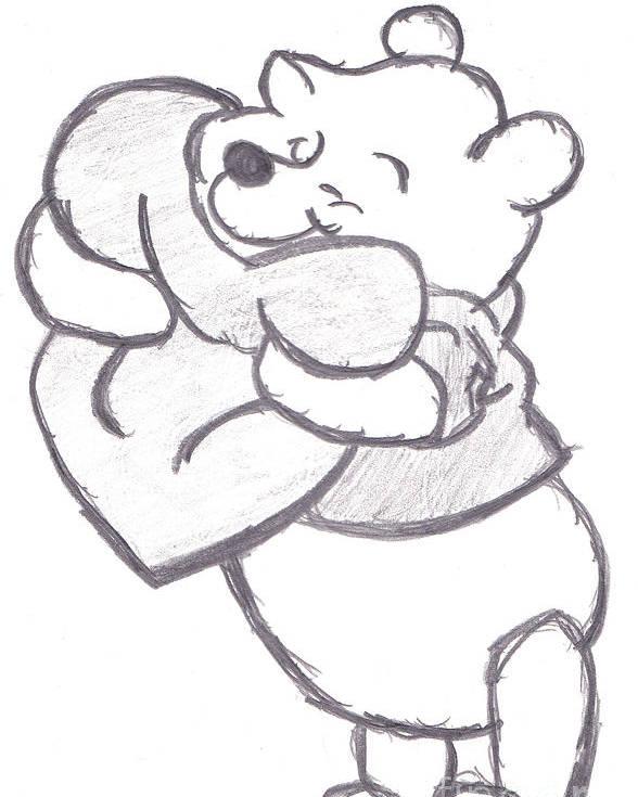 Huggable Poster featuring the drawing Huggable Pooh Bear by Melissa Vijay Bharwani