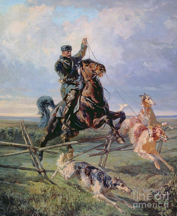 Borzoi Poster featuring the painting Huntsman With The Borzois by Rudolph Frenz