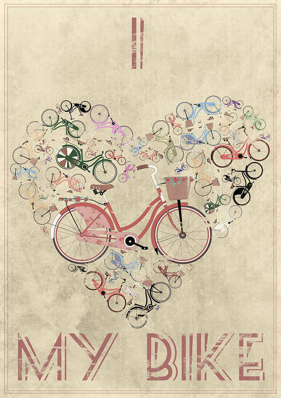Poster featuring the mixed media I Heart My Bike by Andy Scullion