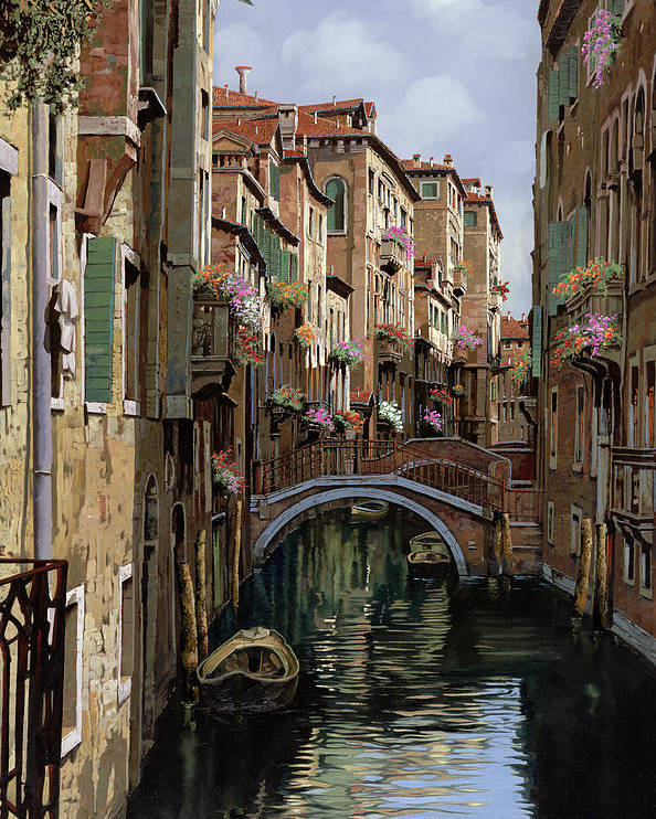Venice Poster featuring the painting I Ponti A Venezia by Guido Borelli