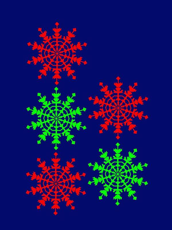 Ice Crystals Seen In An Electron Microscope Remind You To Enjoy A Merry Christmas Poster featuring the digital art Ice Crystals seen in an Electron Microscope remind you to enjoy a Merry Christmas by Asbjorn Lonvig