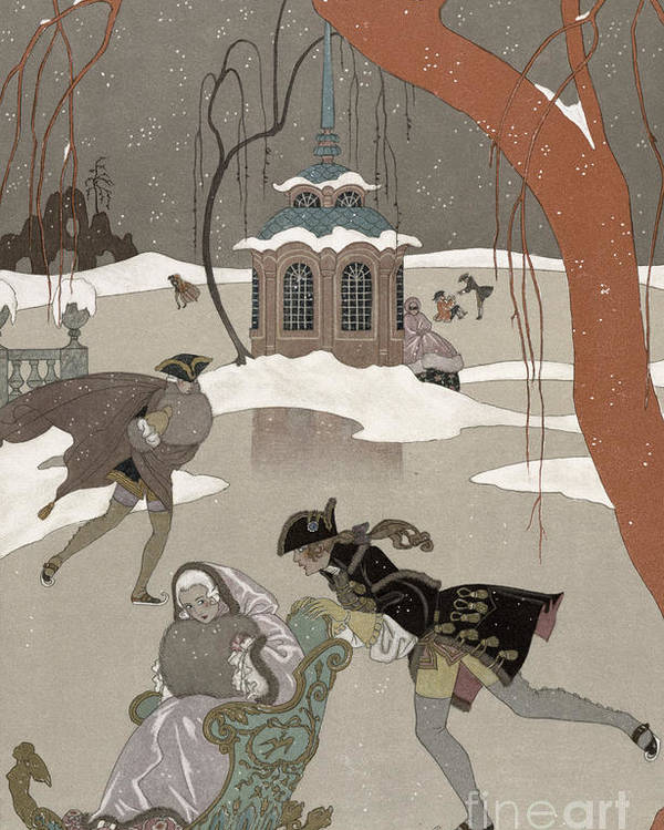 Pond Poster featuring the painting Ice Skating On The Frozen Lake by Georges Barbier