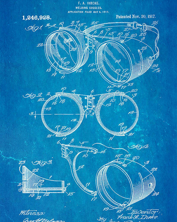 Ihrcke welding goggles patent art 1917 blueprint poster by ian monk construction poster featuring the photograph ihrcke welding goggles patent art 1917 blueprint by ian monk malvernweather Images