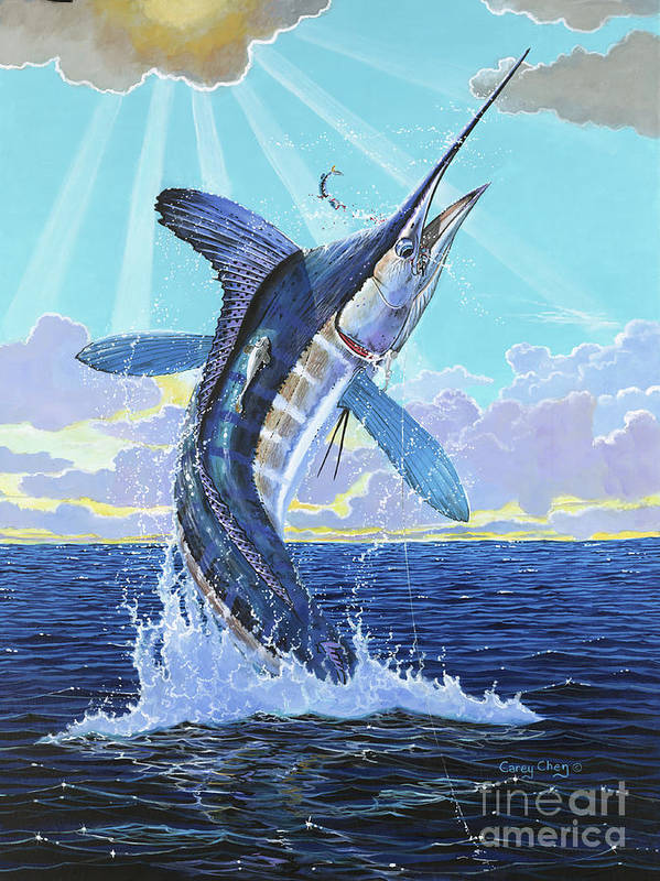White Marlin Poster featuring the painting In Contention Off0049 by Carey Chen