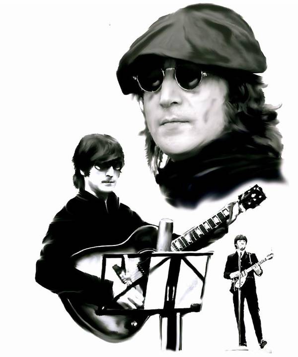 John Lennon Poster featuring the painting In My Life John Lennon by Iconic Images Art Gallery David Pucciarelli