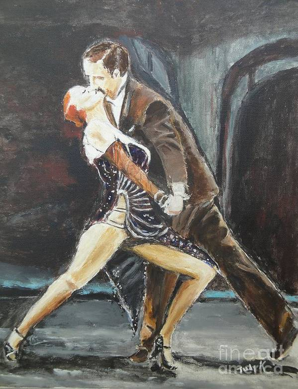 Tango Poster featuring the painting In The Heat Of The Night by Judy Kay