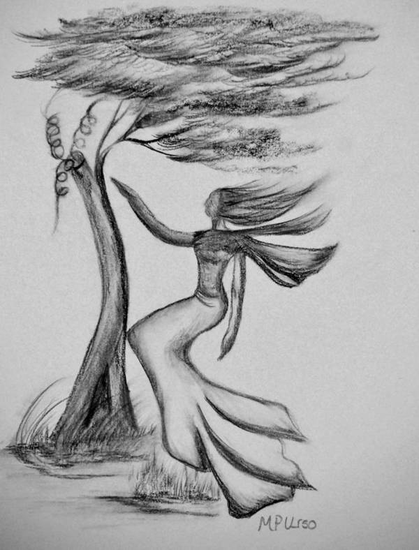 In The Wind She Dances Poster featuring the drawing In The Wind She Dances by Maria Urso
