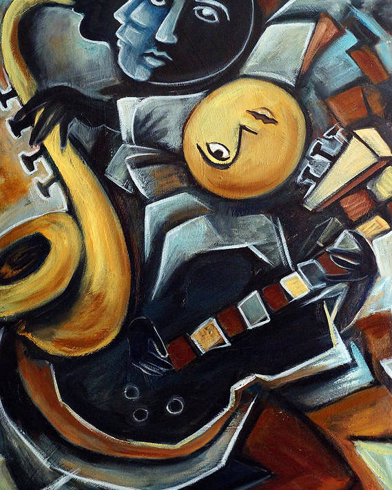 Cubism Poster featuring the painting Indigo Blues by Valerie Vescovi