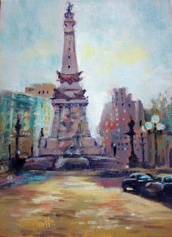 Indianapolis Poster featuring the painting Indy Circle Back-lit by Donna Shortt