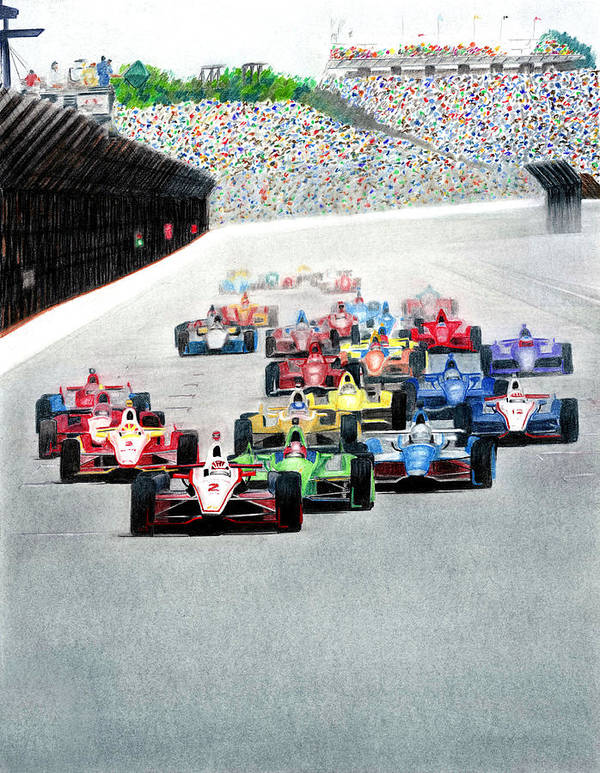 Indy Car Racing Poster featuring the mixed media Indy by Lyle Brown