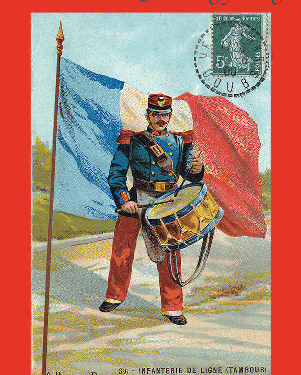 France Poster featuring the photograph Infantry Of The Line Drummer With Fgb Border by A Morddel