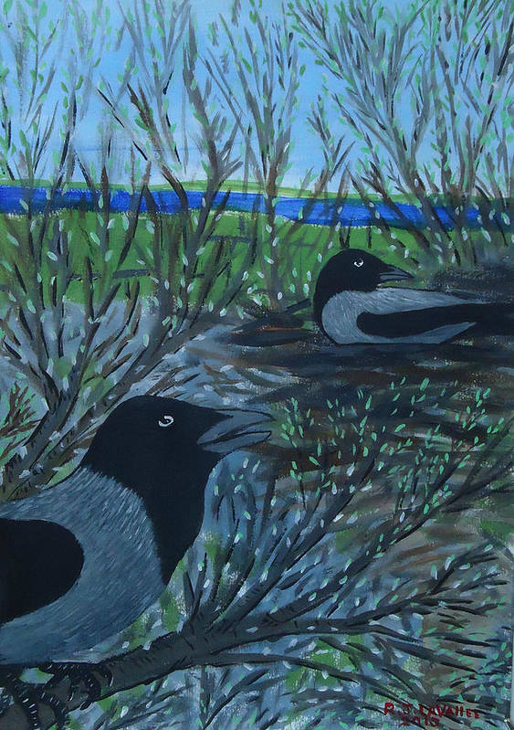 Hooded Crow Poster featuring the painting Inis Meain 5 Hooded Crows by Roland LaVallee