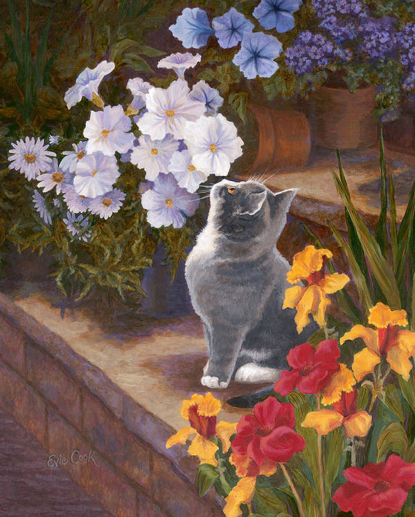 Cat Poster featuring the painting Inspecting The Blooms by Evie Cook