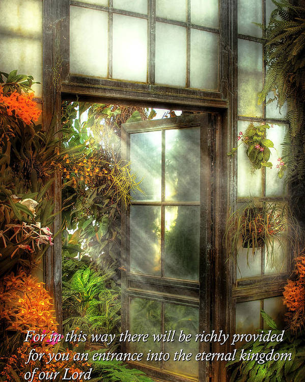 Bible Poster featuring the photograph Inspirational - The Door To Paradise - Peter 1-11 by Mike Savad