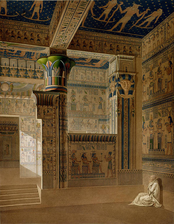 Print Poster featuring the drawing Interior View Of The West Temple by Le Pere