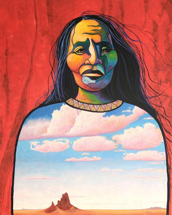 Native American Poster featuring the painting Into Her Spirit by Joe Triano
