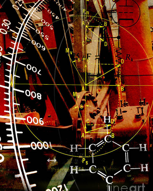 Steampunk Photo Composite Math Science Invention Engineering Steam Mathematics Watt Power Watts Car Automotive Scientific Engine Research Kyllo Composite Art Data Technology System Physics Mechanical Energy Torque Electric Technical Integral Analysis Work Valve Time Ray Proportional Instruments Ideas Environmental Chemistry Algebra Vacuum Tube Circuit Flywheel Vector Degree Angular Theory State Physical Modern Methods Meter Mechanics Mass Light Laboratory Inventions Heat Equations Arts Poster featuring the photograph Invention by R Kyllo