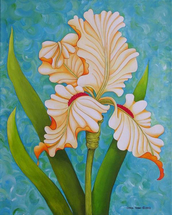 Acrylic Poster featuring the painting Iris the Beauty of One by Carol Sabo
