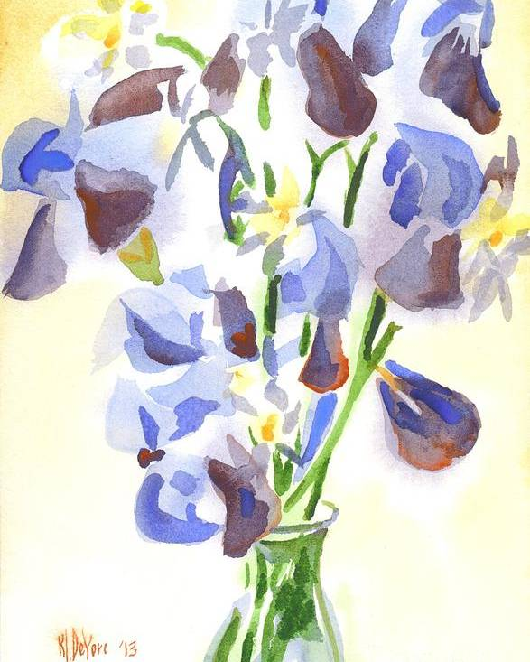 Irises Aglow Poster featuring the painting Irises Aglow by Kip DeVore