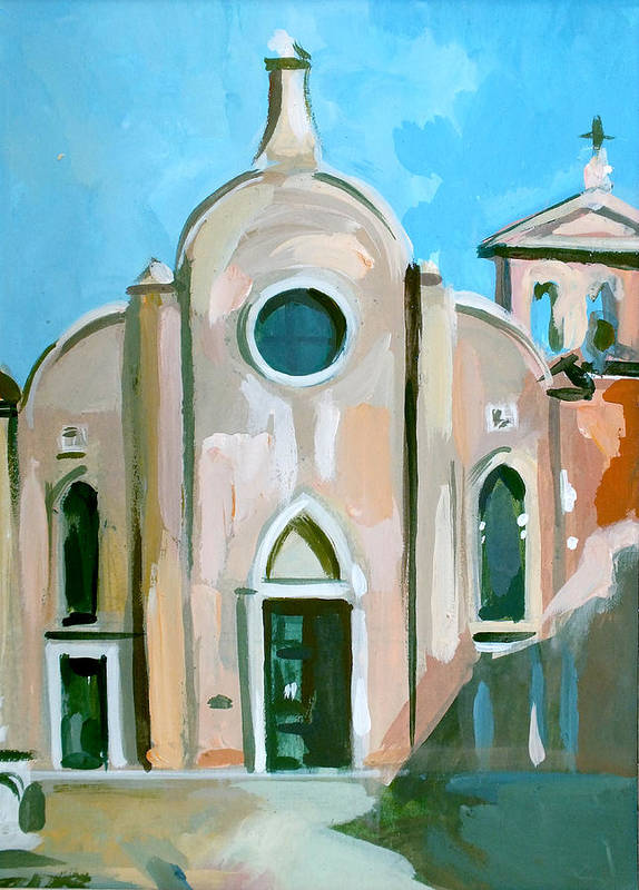 Italian Landscapes Poster featuring the painting Italian Church by Filip Mihail