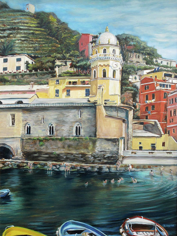 Cinque Terre Poster featuring the painting Italian Riviera - Cinque Terre Colors by Jennifer Lycke
