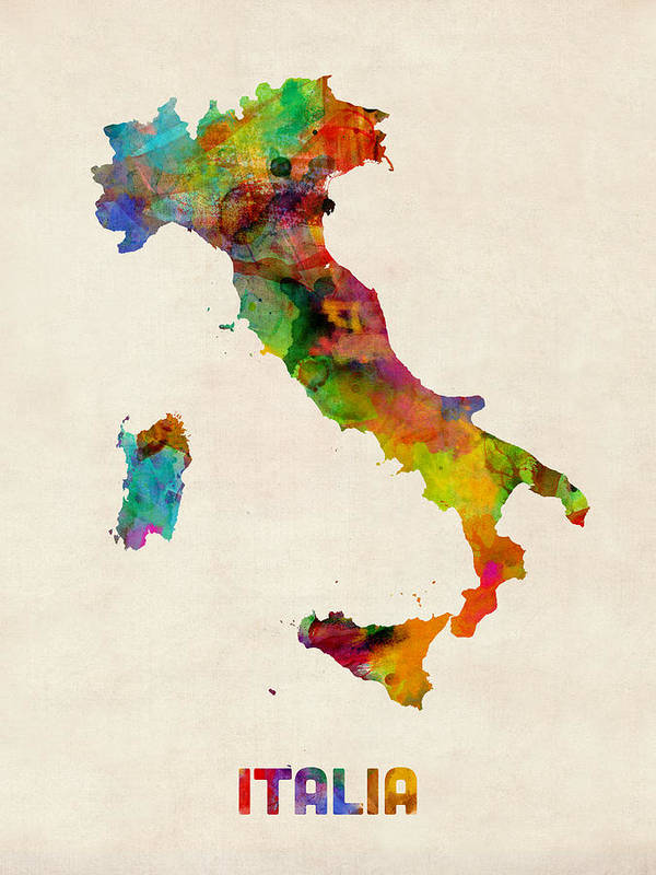 Italy Map Poster featuring the digital art Italy Watercolor Map Italia by Michael Tompsett