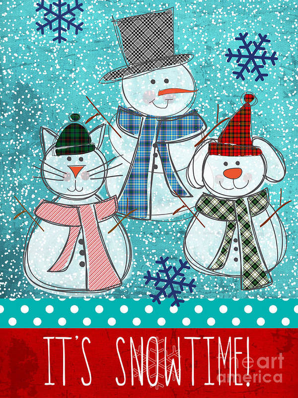 Snowman Poster featuring the painting It's Snowtime by Linda Woods