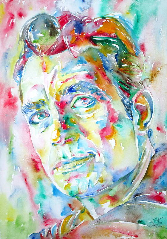 Jack Poster featuring the painting Jack Kerouac Portrait.1 by Fabrizio Cassetta