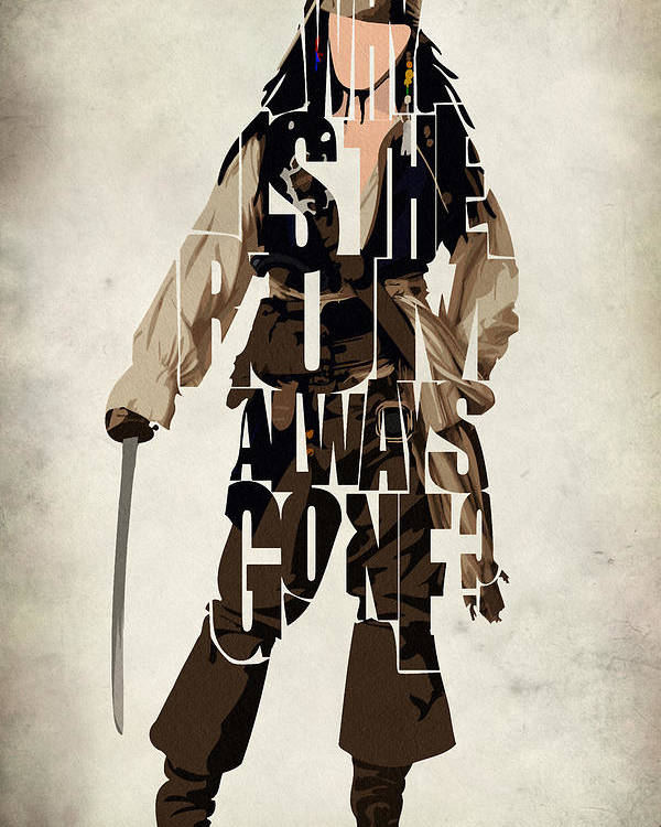 Jack Sparrow Poster featuring the painting Jack Sparrow Inspired Pirates Of The Caribbean Typographic Poster by Ayse Deniz