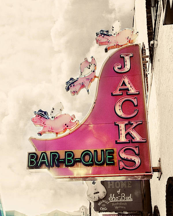 Sign Poster featuring the photograph Jacks Bbq by Amy Tyler
