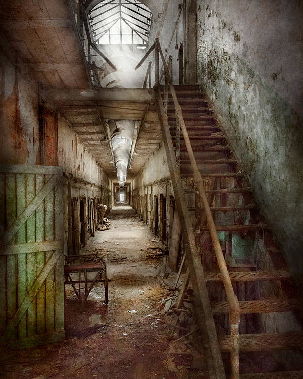 Jail Poster featuring the photograph Jail - Eastern State Penitentiary - Down A Lonely Corridor by Mike Savad