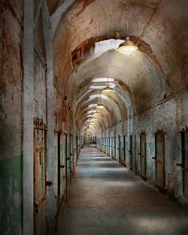Jail Poster featuring the photograph Jail - Eastern State Penitentiary - Endless Torment by Mike Savad