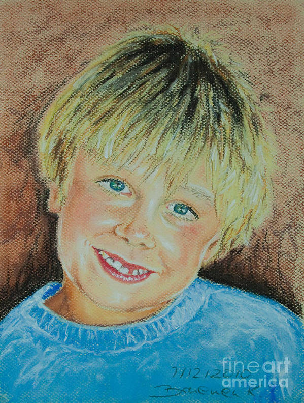 Boy Poster featuring the pastel Jake by Katharina Filus