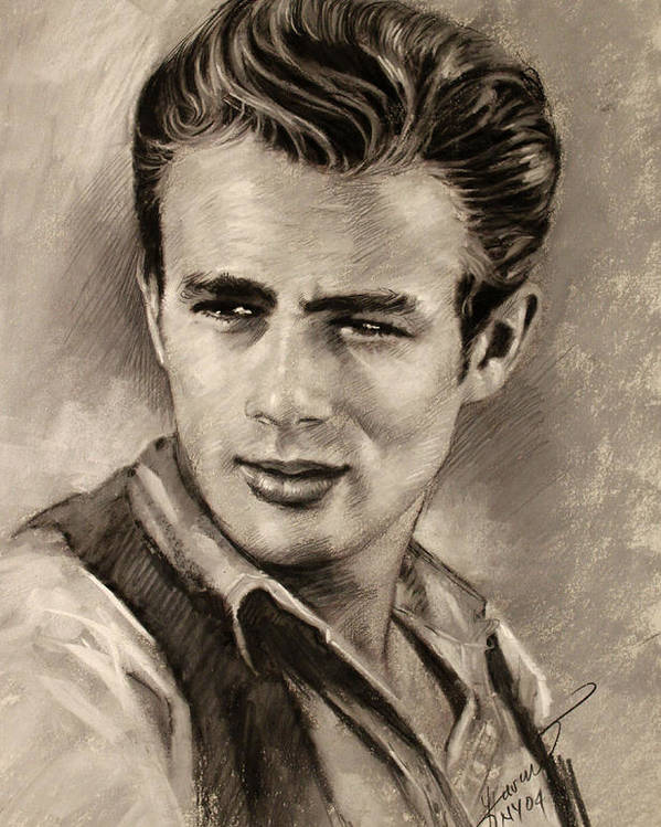 James Dean Poster featuring the drawing James Dean by Viola El