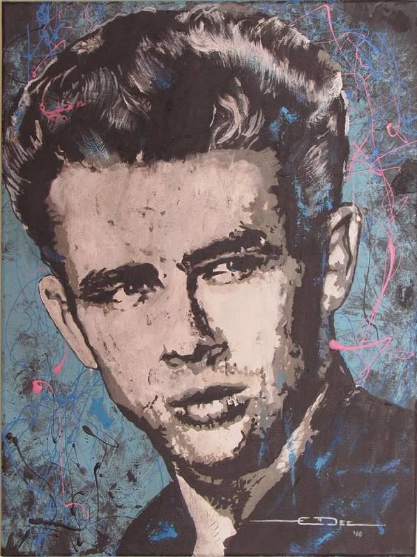James Dean Poster featuring the painting James Dean Blues by Eric Dee