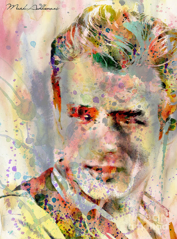 Abstract Poster featuring the painting James Dean by Mark Ashkenazi