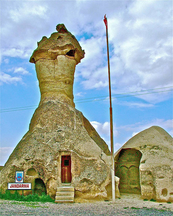 Jandarma Or Police Station In A Fairy Chimney In Cappadocia Poster featuring the photograph Jandarma Or Police Station In A Fairy Chimney In Cappadocia-turkey by Ruth Hager