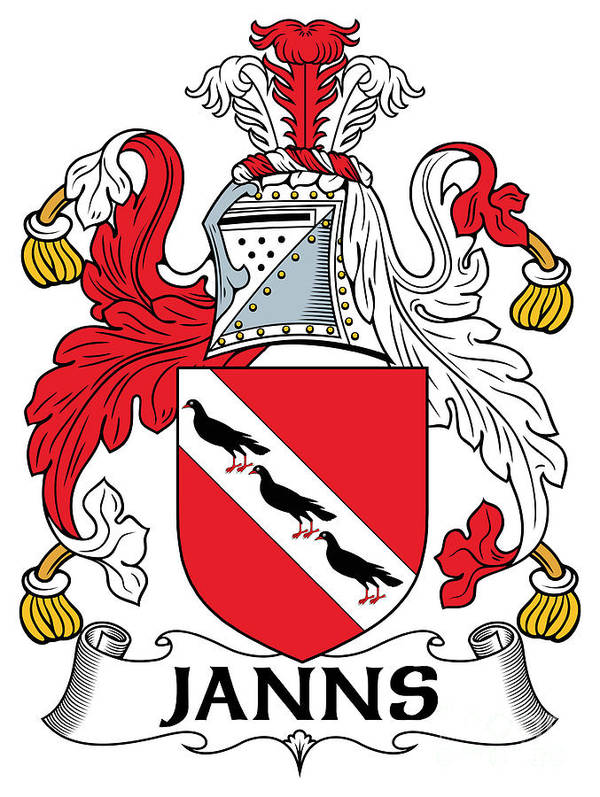Janns Poster featuring the digital art Janns Coat Of Arms Irish by Heraldry