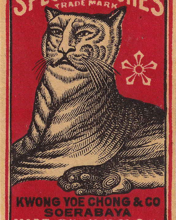 Nkmsk Poster featuring the photograph Japanese Matchbox Label With Tiger by Nop Briex
