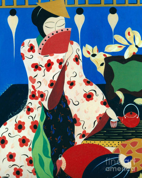 #japanese Poster featuring the painting Japanese Tea by Jacquelinemari