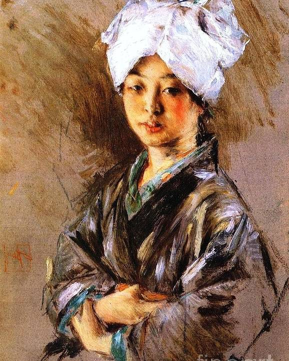 Pd Poster featuring the painting Japanese Woman by Pg Reproductions