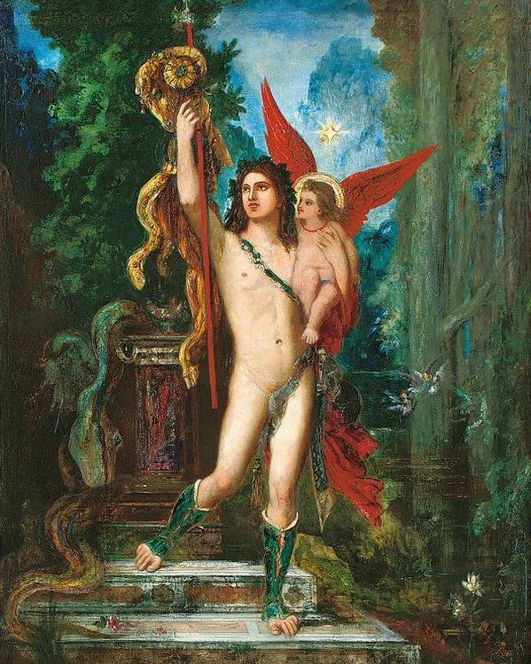 Jason; Eros; Cupid; Love; Male; Nude; Warrior; Classical; Myth; Mythology; Mythological; Landscape; Spear; Neoclassical; Neo-classical; Neo Classical; Star; Night; Nocturne; Gilt Frame; Landscape Poster featuring the painting Jason And Eros by Gustave Moreau