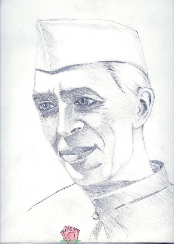 Jawaharl Lal Nehru Photos Poster featuring the painting Jawaharlal Nehru by Tanmay Singh