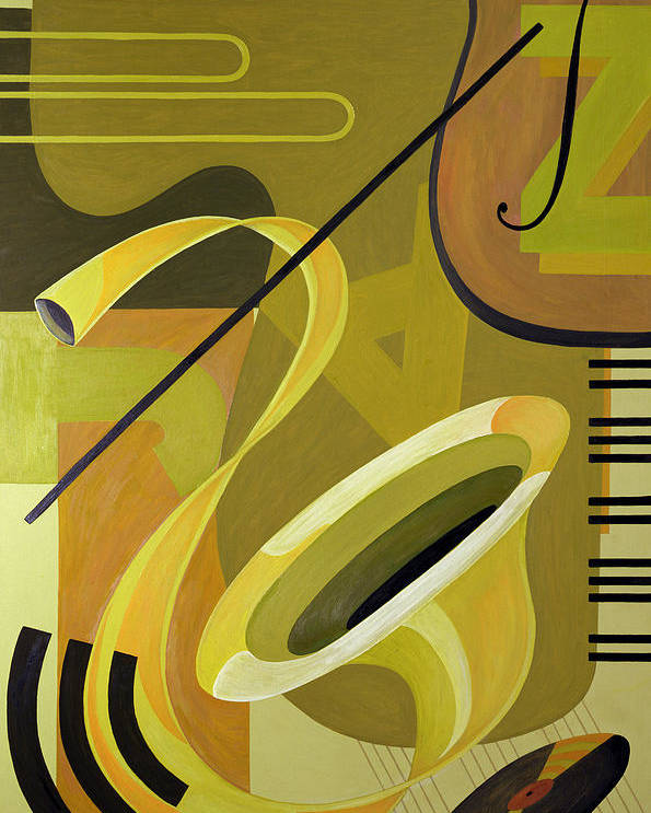 Music Later 20th Century Poster featuring the painting Jazz by Carolyn Hubbard-Ford